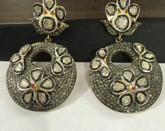 Victorian style 4.50ctw rose cut diamonds polki sterling silver Statement long danglers Wedding earrings Chand Bali