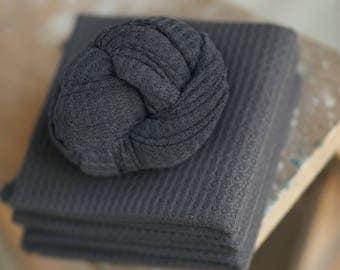 Slate Stretch Knit Wrap, Blue Gray Stretch Knit Wrap, Newborn Photography Wrap, Newborn Photography Layers - RTS