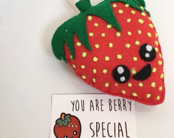 Kawaii Strawberry Hanging felt Plushie