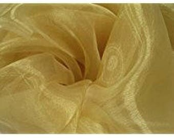 TEXTILES L.A. Mirror Organza Fabric 58 inches width by the yard (gold)