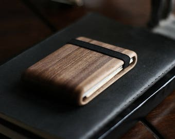 Handmade Wood Wallet (Walnut Hole Black)