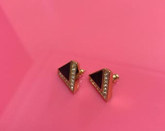Gold, stone and rhinestone post earrings