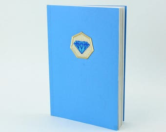 Writing journal, notebook, diary. With gold embroidered diamond patch.