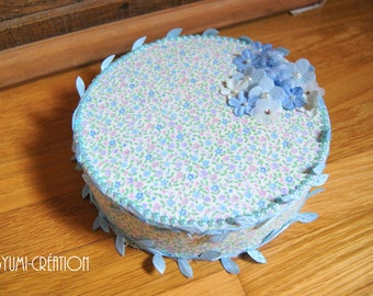 Blue floral round jewelry box
