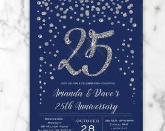 Blue & Silver Wedding Anniversary Invitations - Silver Glitter Confetti - 25th Wedding Anniversary Invites - Digital or Printed #GP6UBGC7