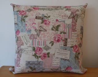 """Beautiful Vintage Style Cushion Cover, Floral, Linen Look Canvas, 16"""", Zip Fastening, Shabby Chic, Handmade"""