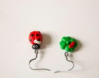 Ladybug, clover, ladybug, clover, heart, heart, fimo, polymer clay, earrings, cute, polymer clay, Stud Earrings