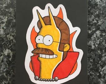 The Simpsons devil Flanders handmade custom design framed 6x4 backed on black card