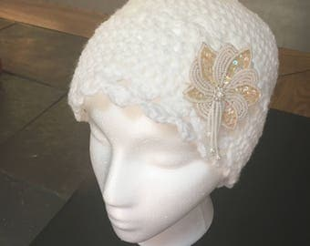 Crochet White Ladies Hat with Vintage Pin