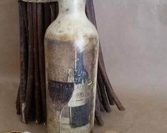 Wine Lovers decoupage bottle