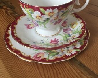 Vintage Queen Anne fine bone china trio