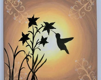 Original Folk Art Painting: Hummingbird Silhouette with Filigree