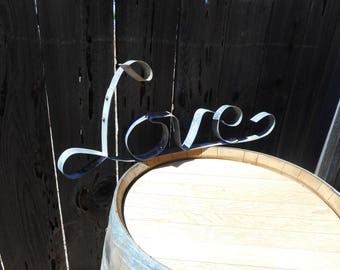 Metal Wine Barrel Hoop Love Sign