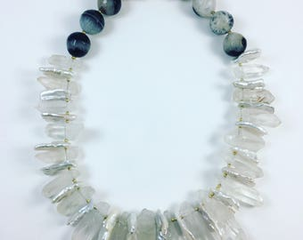 Rock Crystal, Freshwater Pearl and Agate Necklace