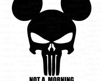 Mickey Skull svg, Not a morning person svg, SVG, JPG, PNG, Dfx, Ai, download files, svg files, Mickey Mouse svg, Disney svg, Mickey svg