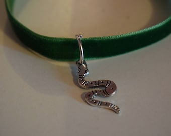 Harry Potter Inspired Green Velvet Snake Charm Choker- Slytherin Inspired Charm- Slytherin Inspired Choker