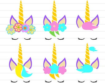 INSTANT DOWNLOAD - Unicorn Svg, Unicorn Face Svg, Floral Unicorn Eyelashes, Unicorn Head Svg, Unicorn Clipart, Unicorn Svg Horn Lashes
