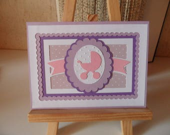 Birth card, baby girl, pink and purple