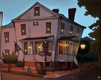 Bed and Breakfast, digital illustration, 11x8, small, inn, motel, 1800s, cartoon, Oldtown Portsmouth, twilight