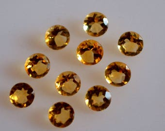 4 mm natural citrine round faceted  loose gemstone AAA quality