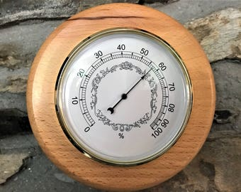 Hygrometer, wall hanging, round, made from spalted beech