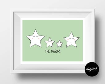 Personalized Star Family Portrait A3 Digital Download Customized illustration Family Gift Home Gift Mothers Day Gift Print Family Art