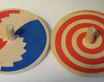 Lot of Two The Toycrafter Wooden Tops from 1985