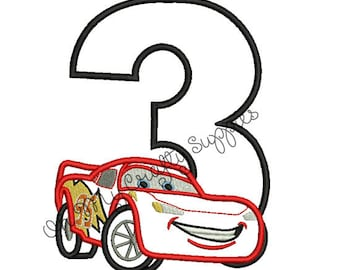 Red Race Car with number 3 Applique Embroidery Design