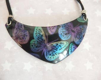 """Butterflies"" polymer clay bib necklace / butterfly necklace"