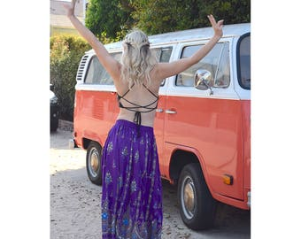 Indian maxi skirt, indian bohemian long flowy skirt, hippie skirt, music festival fashion (various colors)