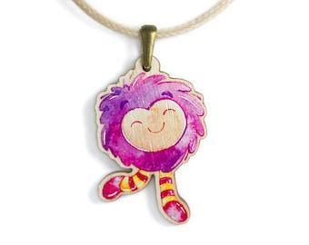 Girls Jewellery Necklace WOODEN ***PINK TROLL***