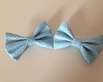 Baby blue and white spotty hair bow clips
