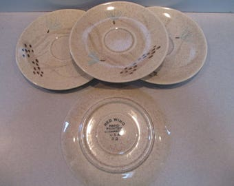 4 Vintage Red Wing Pottery Bob White Pattern Saucers