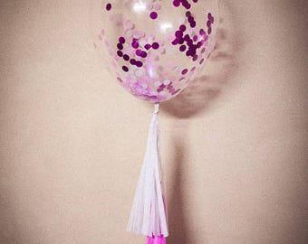 Pink Purple Confetti Balloon w/ tassels