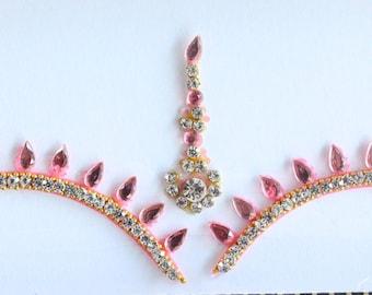 Pink Bridal Forehead Bindi Stickers,Wedding Long Bindis,Bridal Pink Bindis,Bindis,Bollywood Bindi, Long pink Bindis, Self Adhesive Stickers