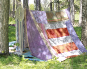 Adult tent, boho party photo prop, patchwork tent, festival shelter, bohemian teepee, gypsy decor Purple Sunset