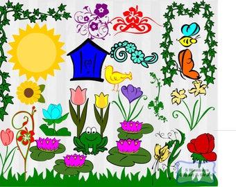 Spring SVG Files bundle, Spring clipart, Flower svg, flower clipart, bee svg, frame, vector, svg files for silhouette, svg files forcricut