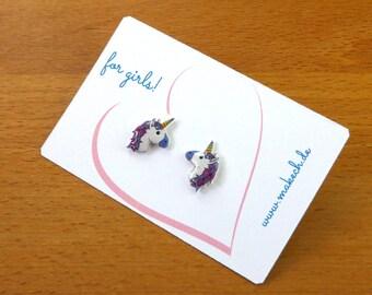 Girl children jewelry ear studs earrings 925 Silver Unicorn