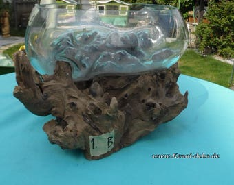 Decorative Bowl in root - the root bed of decorative glass glass vase