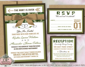 Modern Hunter Camo Wedding Invitations 5x7 with Belly Band and Ribbon