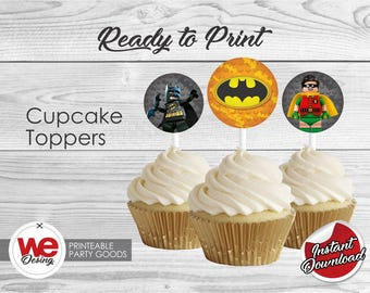Batman Lego City Cupcake Toppers, Printable Cupcake topeper, Batman Lego City Birthday decoration, instant download, DIY