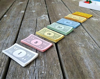 Vintage Monopoly Money - Play Money - Game Pieces - Monopoly Game - Vintage Game Money - Replacement Monopoly Money - Craft Supplies