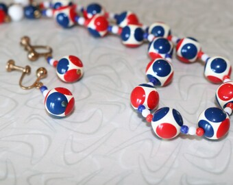 Mod Red White and Blue Glass Beaded Necklace and Earrings Set