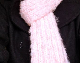 Knitted pink fuzzy scarf