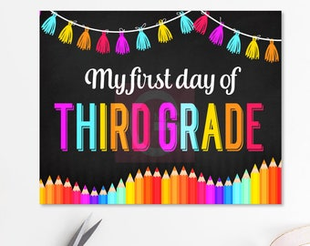 First day of third grade, 3rd grade, first day of school chalkboard, first day of school sign, here I come, nailed it, 3rd grade sign