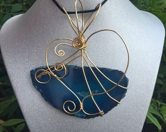Teal Love, Wire Wrapped Pendant