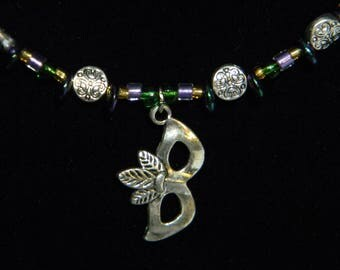 Mardi gras themed glass bead necklace