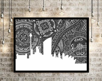Sydney, Poster, Australia, Skyline, Art, Doodle, Zentangle, Home Decore, Black and White, Opera House, Digital Illustration, City, Gift