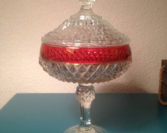 Kings Crown tall candy dish with lid