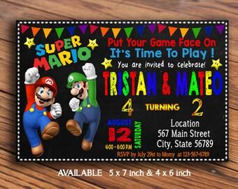 Two Names Super Mario Invitation / Super Mario Bross Invitation / Super Mario Birthday Invitation / Super Mario Printable/Invitation